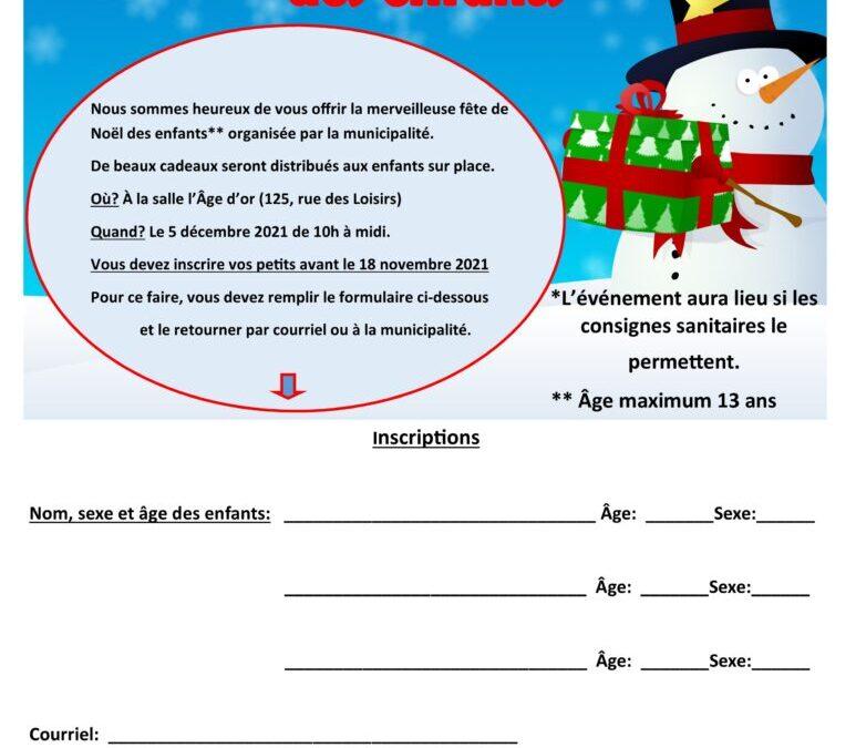 Inscription à la Fête de Noël des enfants